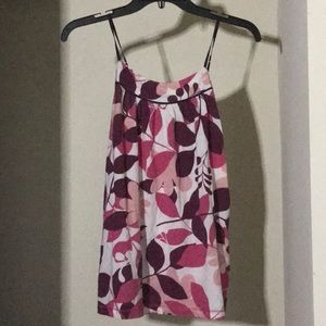 Pinkish floral printed top with spaghetti straps
